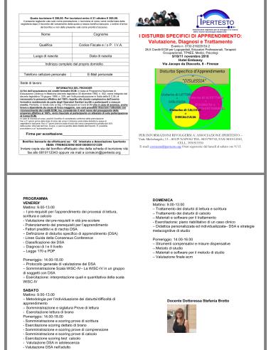 I DISTURBI SPECIFICI DI APPRENDIMENTO: Valutazione, Diagnosi e Trattamento 9/10/11/11 Novembre 2018  Firenze