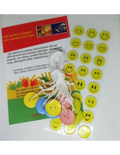 Set bottoni leggeri con cordoncino per bambini 8pz.